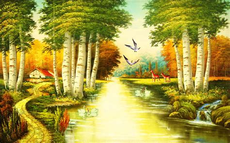 background design of nature nature river since the design of modern household wall