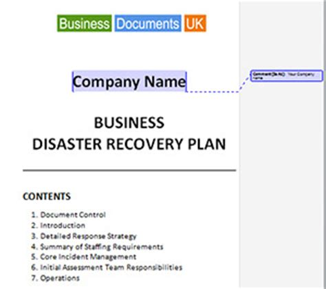 Bduk 02 Disaster Recovery Plan Cover Contents 01 300 Simple Disaster Recovery Plan Template For Small Business