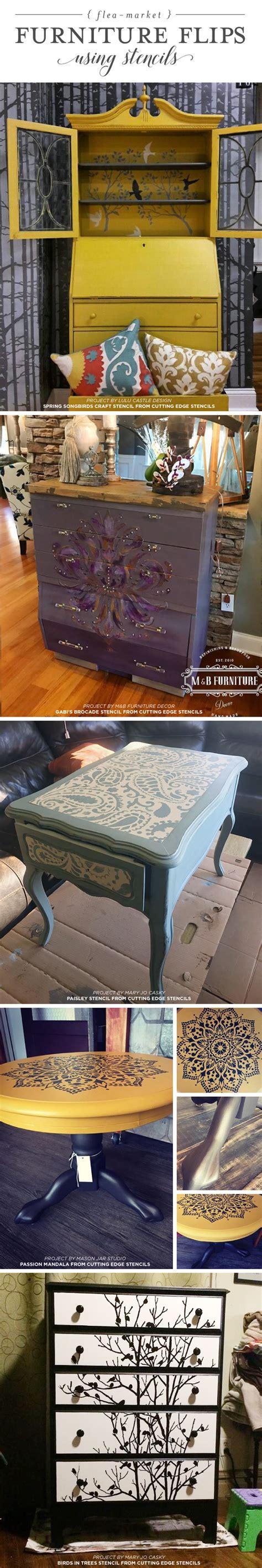 flea market furniture flips using stencils stencil