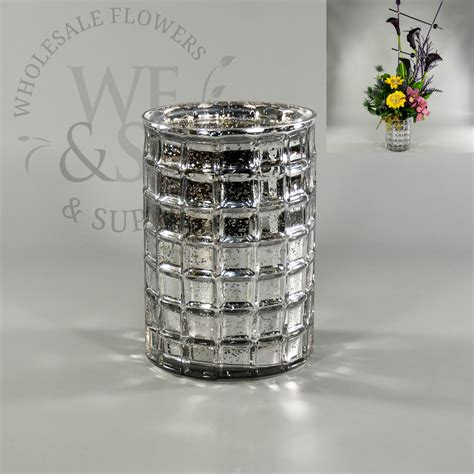 Mirror Mosaic Vase by Mirrored Mosaic Glass Cylinder Vase In Silver 7 Quot