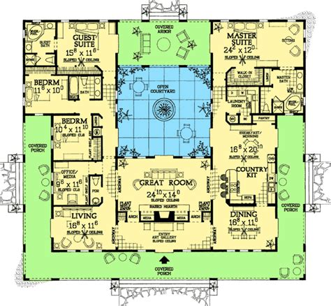 Open Courtyard House Floorplan Southwest Florida Single Level House Plans With Courtyard