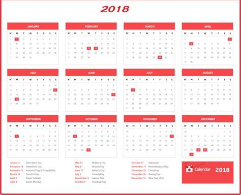 2018 Canadian Calendar Canada Calendar 2018 Calendar 2018
