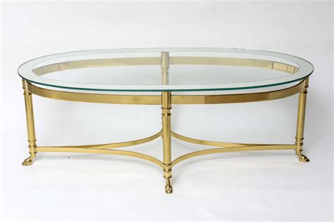 Oval Glass Top Coffee Table Oval Brass Coffee Table With Mirrored Glass Top At 1stdibs
