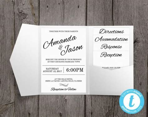pocketfold wedding invitation template pocket wedding invitation suite printable wedding