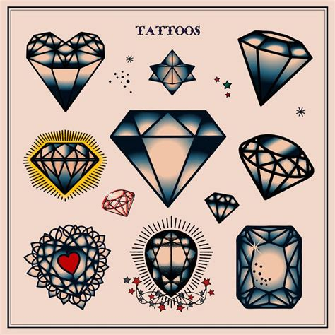 diamond tattoo vector set of diamond tattoos in traditional vintage style