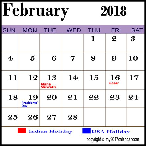 Calendar 2018 Pakistan With Holidays February 2018 Calendar With Holidays Printable Monthly