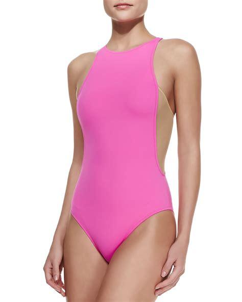 Mesh One Swim Suit lyst oye swimwear stella mesh side one swimsuit in