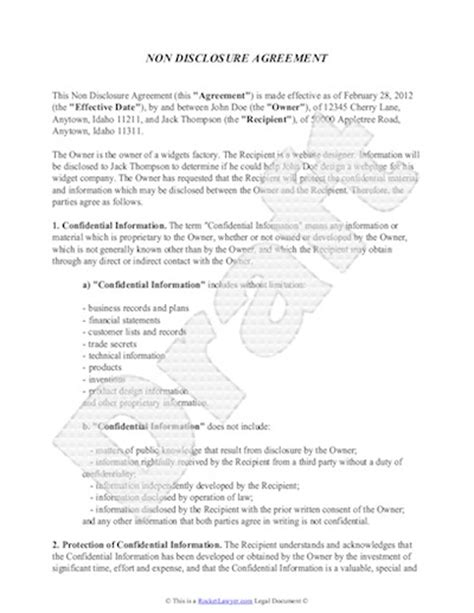 Non Disclosure Agreement Template Free Sle Nda Template Non Disclosure Statement Template