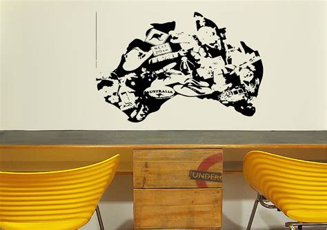 wall sticker australia australia map of images maps wall stickers adhesive wall