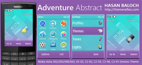 themes nokia asha 202 adventure abstract live theme for nokia asha 202 203 300