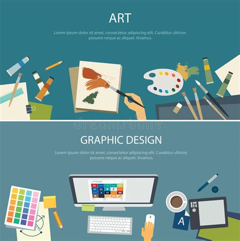 art design qualifications art education and graphic design web banner flat design