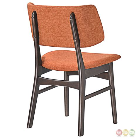 Dining Chairs Set Of 2 Set Of 2 Vestige Vintage Dining Side Chair W Linen Upholstered Seats Walnut Orange