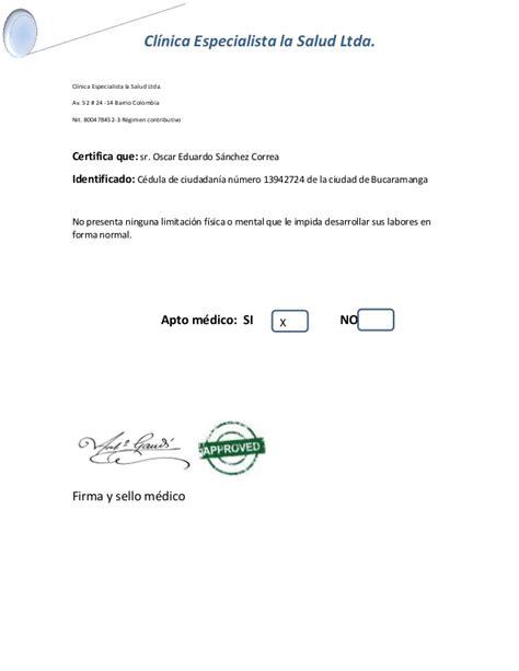 certificado de apto medico
