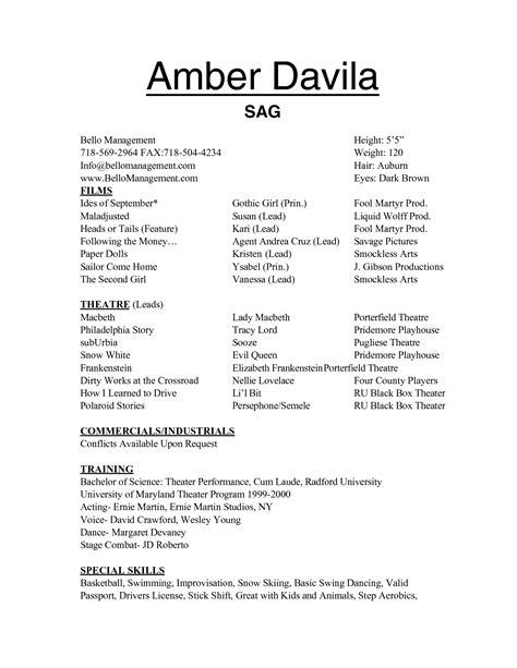 Child Resume Sample – Child Actor Sample Resume   Child Actor Sample Resume are