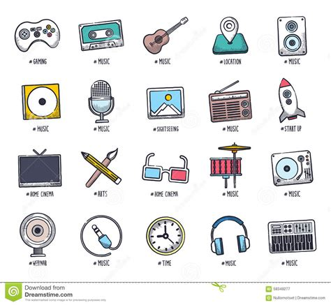 doodle sign up for event multimedia doodle icon set stock vector image of