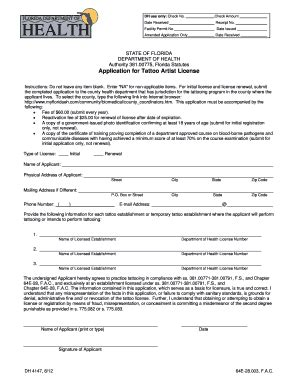 tattoo application artist admission form fill online printable fillable