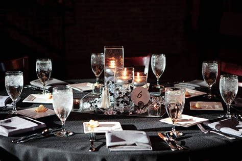 black blue and silver table settings snuggle s for our rehearsal dinner we hired a