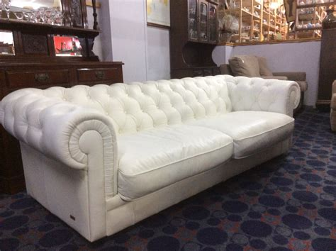 white leather low back chesterfield lounge simply secondhand