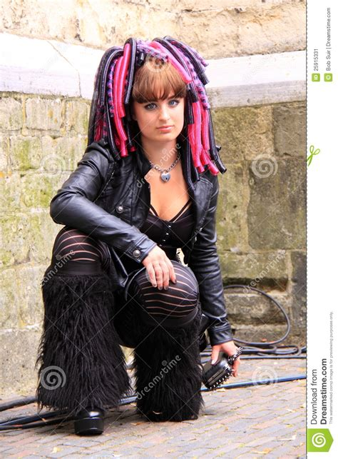 commercial goth girl cyber gothic girl street editorial photo image 25915331