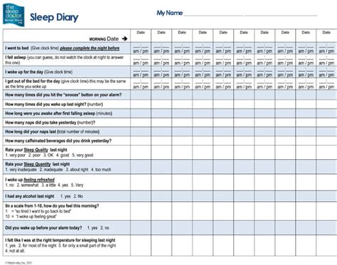 sleep diary template 6 best images of sleep diary printable free printable
