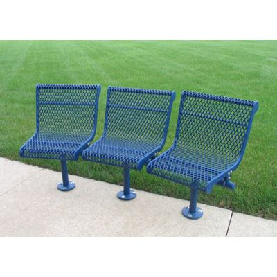 curved 3 seat outdoor bench expanded metal mesh