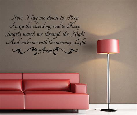 wall quotes wall decals comfort now i lay me down vinyl quote wall decal night prayer