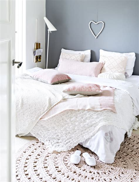 gray white and pink bedroom vintage feminine home with blush pink accents digsdigs