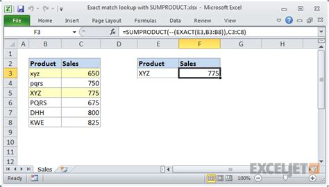 Match Search Exact Match Lookup With Sumproduct