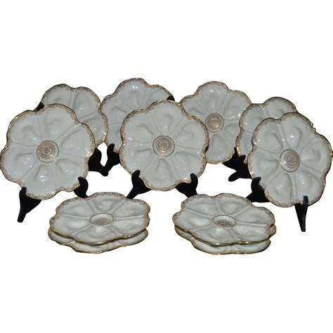 antique porcelain ls ls s limoges set of 11 oyster plates from hollin