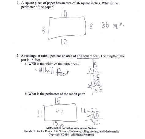 non printable area word length area and perimeter worksheets worksheet exle