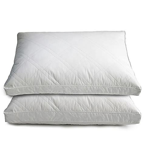 down pillows bed bath and beyond quilted goose and feather down standard pillow in white