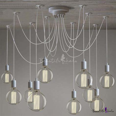 Gracefully White 10 Light Industrial Style Multi Light Led Swag Style Lights