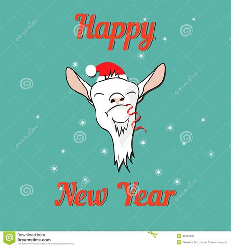 new year goat message happy goat on new year card stock vector image 45256228