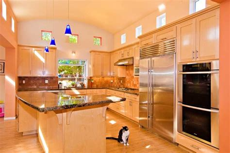 kitchen with sloped ceiling modern kitchen kitchen with barrel vaulted ceiling and clerestory windows