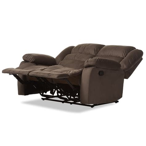 microsuede recliner hollace microsuede reclining lovesesat in taupe 98240