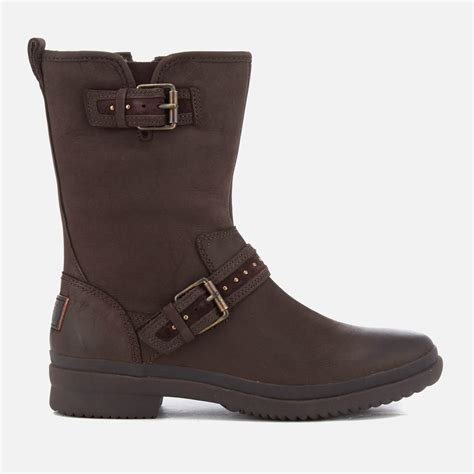 waterproof biker boots ugg s jenise waterproof leather biker boots in brown