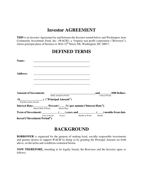 investment contract template simple investment contract template free printable documents
