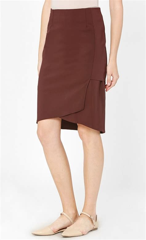 layered pencil skirt in maroon fashionvalet