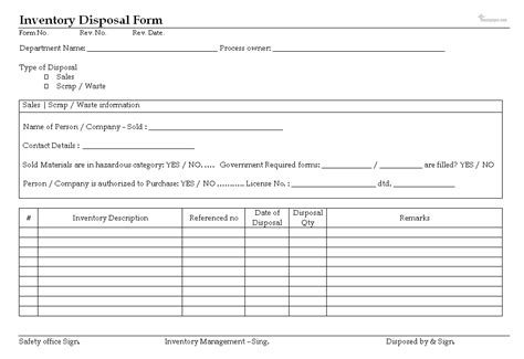 Inventory Disposal Documentation Scrap Report Excel Template
