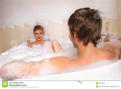 couple bathtub couple is enjoying a bath royalty free stock images