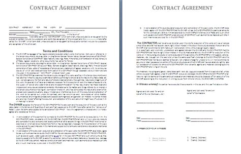terms of agreement contract template contractor agreement template free agreement and