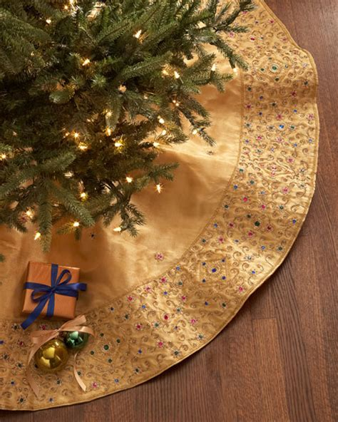 sudha pennathur gold beaded christmas tree skirt