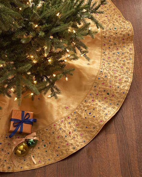 sudha pennathur gold beaded christmas tree skirt
