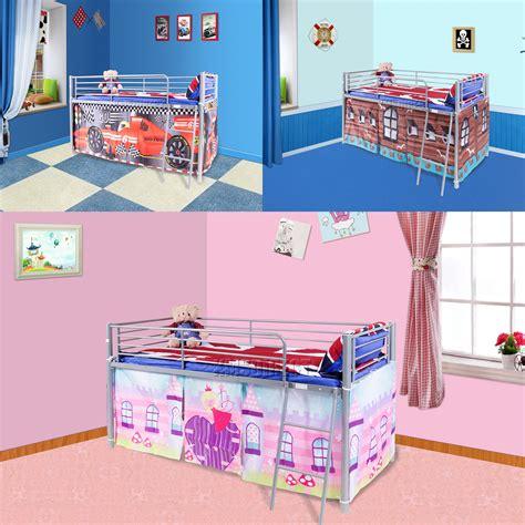 mid bunk bed foxhunter childrens metal mid sleeper cabin bunk bed