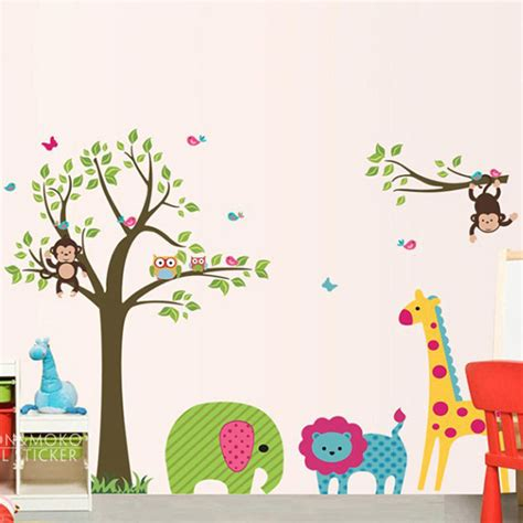 Childrens Wall Mural Stickers blossom zoo giraffe elephant monkey owl lion wall decal
