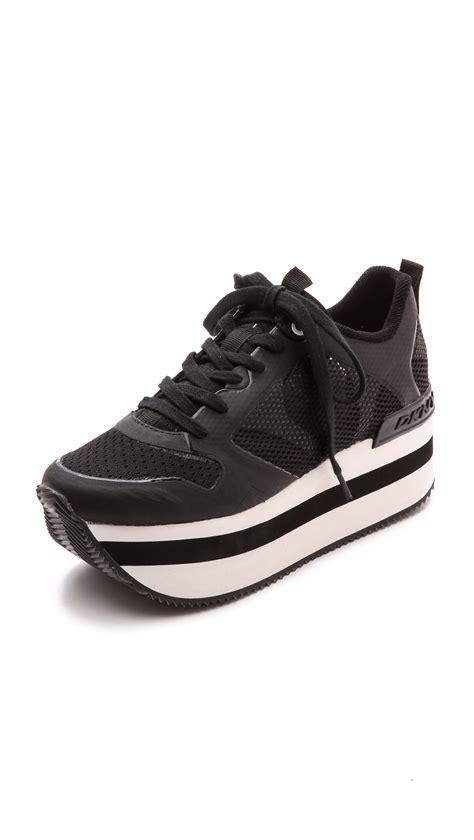 dkny platform sneakers lyst dkny runway platform sneakers black in black