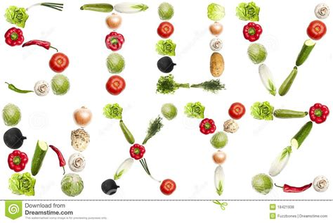vegetables 3 letters letters made of vegetables stock photo image of green