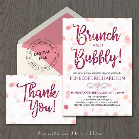 Brunch And Bubbly Wedding Shower Invitations brunch and bubbly invitation template printable