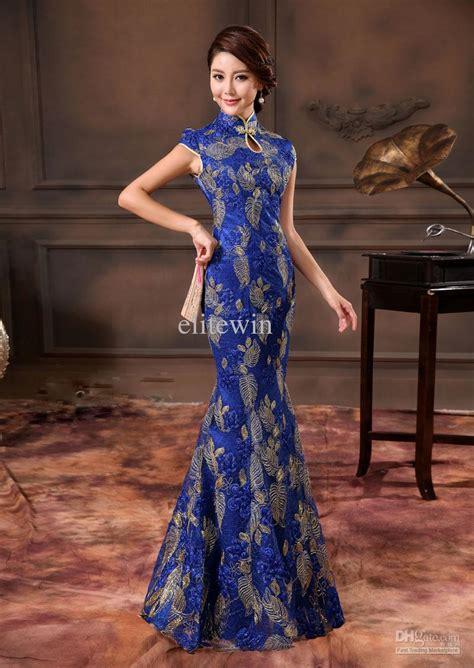 vitage sapphire wedding dress cheongsam water neck satin