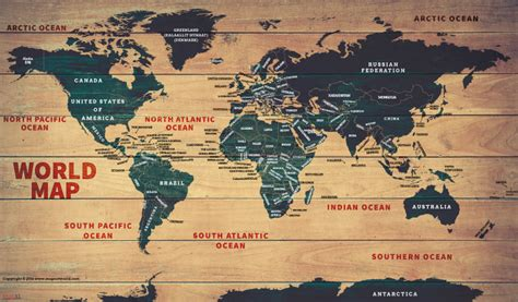 map of poster world wood map poster